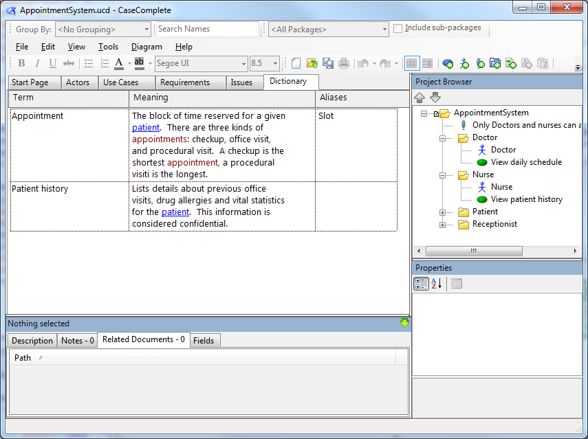 Add a dictionary entry casecomplete support for View dictionary