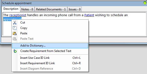add dictionary from context menu