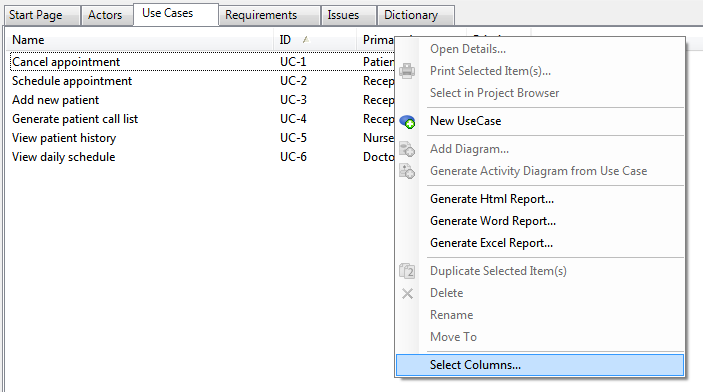 customize columns context menu