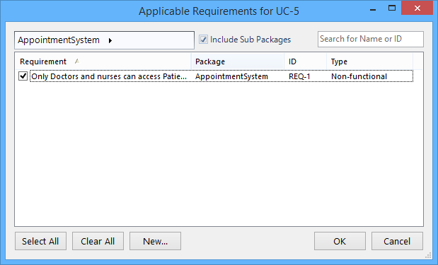 requirements popup
